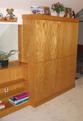 golden oak cabinets and bookcase