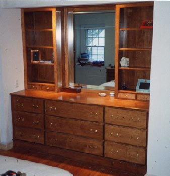Built-in maple dresser