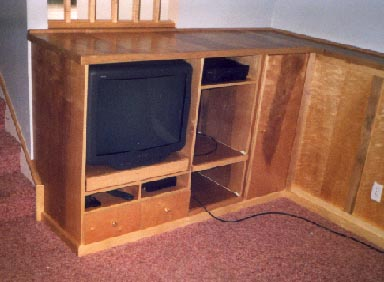 Built-in maple entertainment center