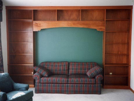 Built-in mahogany wall unit