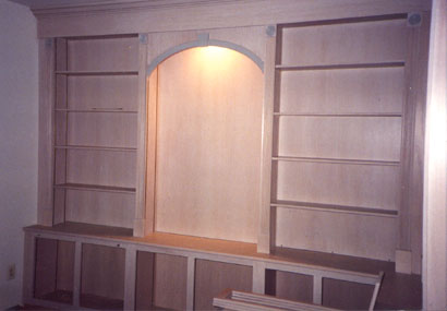 Built-in pickled oak wall unit