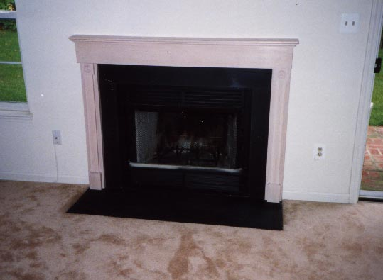 Pickled oak fireplace surround