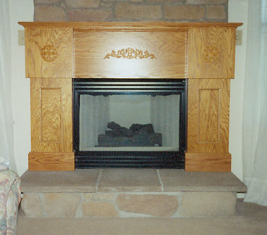 Golden oak fireplace installed