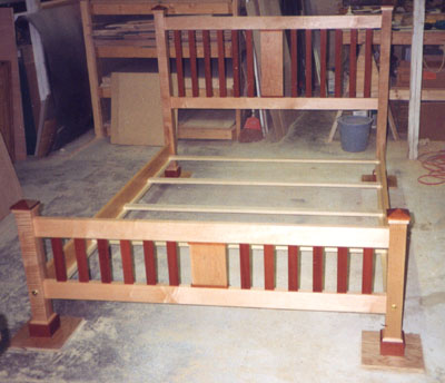 Curly maple and rosewood bed