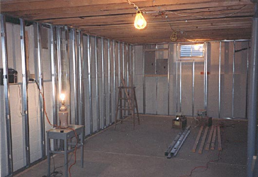 Metal stud framing for finished basement