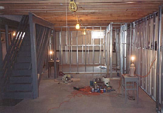 More metal stud framing in finished basement