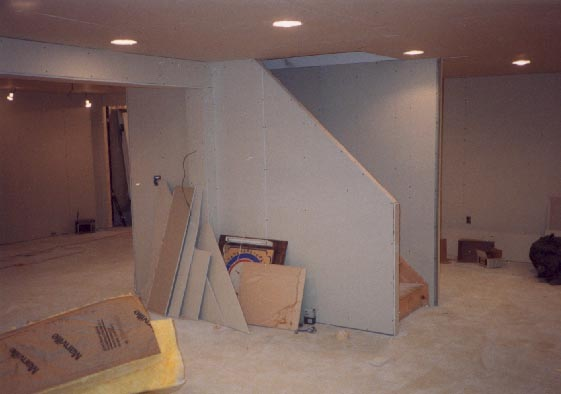 Sheetrock around stairway in finished basement