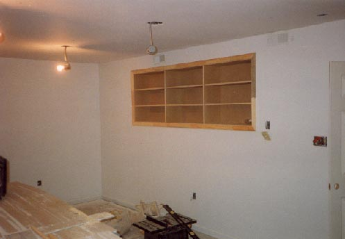 Built-in bookcase in finished basement